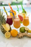 Multivitamin juice. View at multivitamin juice in the glss Royalty Free Stock Image