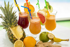 Multivitamin juice. View at multivitamin juice in the glss Stock Photography