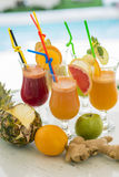 Multivitamin juice. View at multivitamin juice in the glss Royalty Free Stock Photos