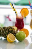 Multivitamin juices. View at multivitamin juice in the glss Royalty Free Stock Photography