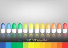 Multivitamin label inspiration, icon concept vitamins pills,  isolated Stock Image