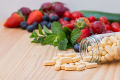 Multivitamin. Multivitamin and mutimineral pills, nutritional Supplement. closeup Royalty Free Stock Image