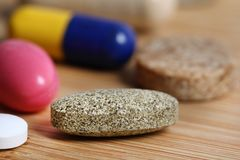 Multivitamin pill. Closeup shot of natural multivitamin pill Stock Photo