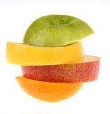 Multivitamins. Apple, lemon, pear and orange Stock Image