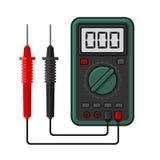 Multímetro digital Ohmímetro bonde e poder da amperagem da tensão do instrumento de medição Vetor Imagem de Stock