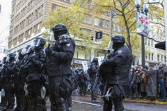 Multnomah County Sheriff in Riot Gear During Occupy Portland 201. PORTLAND, OREGON - NOV 17: Police Sheriff in Riot Gear Frontline in Downtown Portland, Oregon Royalty Free Stock Images