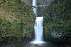 Multnomah Falls. In Oregon (USA). Also shows the Benson Footbridge royalty free stock image