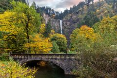 Multnomah Falls along Old Columbia Highway in Portland Oregon USA Stock Image
