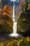 Multnomah Falls in Autumn colors Stock Photo