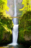 Multnomah falls and bridge Stock Images
