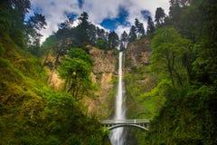 Multnomah Falls and bridge, in the Columbia River Gorge. Oregon royalty free stock image