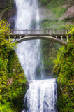 Multnomah falls and bridge in the morning Stock Photo