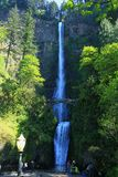 Lower and Upper Multnomah Falls from the Lower Viewpoint, Columbia River Gorge, Oregon stock images