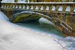 Snow and frozen water under bridge. Multnomah Falls, Columbia River Hwy Bridge at the Lodge stock image