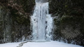 Multnomah Falls in Deep Freeze Winter Season Portland Oregon 1080p Royalty Free Stock Photos