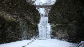 Multnomah Falls in Deep Freeze Winter Season Portland Oregon 1080p Stock Photography