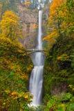 Multnomah Falls in Fall Season Colors in Oregon America Stock Image