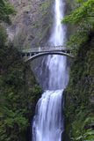 Multnomah Falls and foot bridge in lush green setting near Mount Hood and Portland Oregon in the Columbia River Gorge region Stock Images