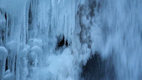 Multnomah Falls Frozen in Winter along Columbia River Gorge Portland Oregon 1080p Closeup stock video footage