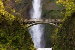 Multnomah Falls near the bridge stock photography