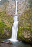Multnomah Falls Oregon with Bridge Stock Image