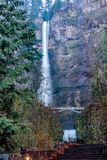 Multnomah Falls in Oregon. Multnomah Falls is a waterfall located in the Columbia River Gorge, east of Troutdale, between Corbett and Dodson, Oregon, United Royalty Free Stock Photography