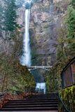 Multnomah Falls in Oregon. Multnomah Falls is a waterfall located in the Columbia River Gorge, east of Troutdale, between Corbett and Dodson, Oregon, United Stock Photos