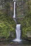 Multnomah Falls in Spring 2. Multnomah Falls at Columbia River Gorge National Scenic Area in Spring Vertical Stock Photos