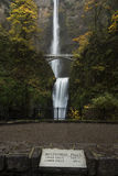 Multnomah Falls with Stone Marker Royalty Free Stock Image