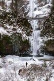 Multnomah glacial tombe en décembre 2016 Images libres de droits