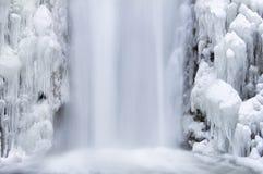 Multnomah nedgångar som frysas i vinterCloseup Fotografering för Bildbyråer