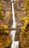 Multnomah Waterfall Columbia River Gorge Oregon. Multnomah Falls Waterfall Autumn, Fall Bridge Columbia River Gorge, Oregon, Pacific Northwest stock images