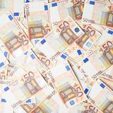 Multuple fifty euro bank notes Stock Images