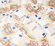 Multuple fifty euro bank notes Stock Photos