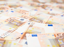 Multuple fifty euro bank notes Stock Photo