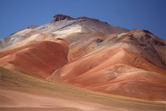 Multy-colored mountain in the Daly desert. Bolivia Royalty Free Stock Images