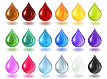 Multycolor genomskinliga droppar på genomskinligt stock illustrationer
