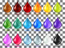 Multycolor transparent drops on transparent Royalty Free Stock Photography