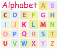 Multycolored Alphabet with 26 Capital Letters Icon. S. Vector illustration of preschool education for children. Colorful teaching typography for kindergarten or Royalty Free Stock Photos