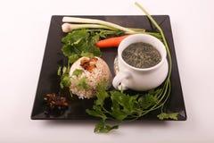 Mulukhiyah mit Reis-Mahlzeit lizenzfreie stockbilder