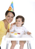 Mum and baby celebrating Royalty Free Stock Photography