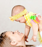 Mum with the baby. Happy young mum with the baby royalty free stock photography