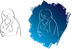 Mum and baby line drawing Stock Image