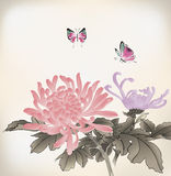 Mum and butterfly. Chinese style painting Royalty Free Stock Image