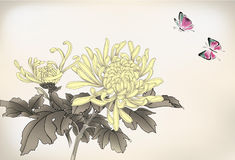 Mum and butterfly. Chinese style painting Royalty Free Stock Images
