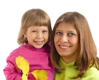 Mum with the child. Mum with the daughter smile on a white background stock images