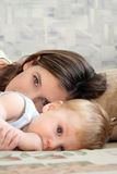Mum with the child. Portrait of young beautiful mum with the little boy Royalty Free Stock Images