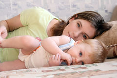 Mum with the child. Portrait of young beautiful mum with the little boy Royalty Free Stock Photos