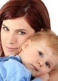 Mum with the child. Portrait of young mum with the beautiful small son Stock Image