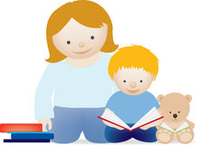 Mum and child read. A vector illustration of a mum and her little boy reading a book Stock Image